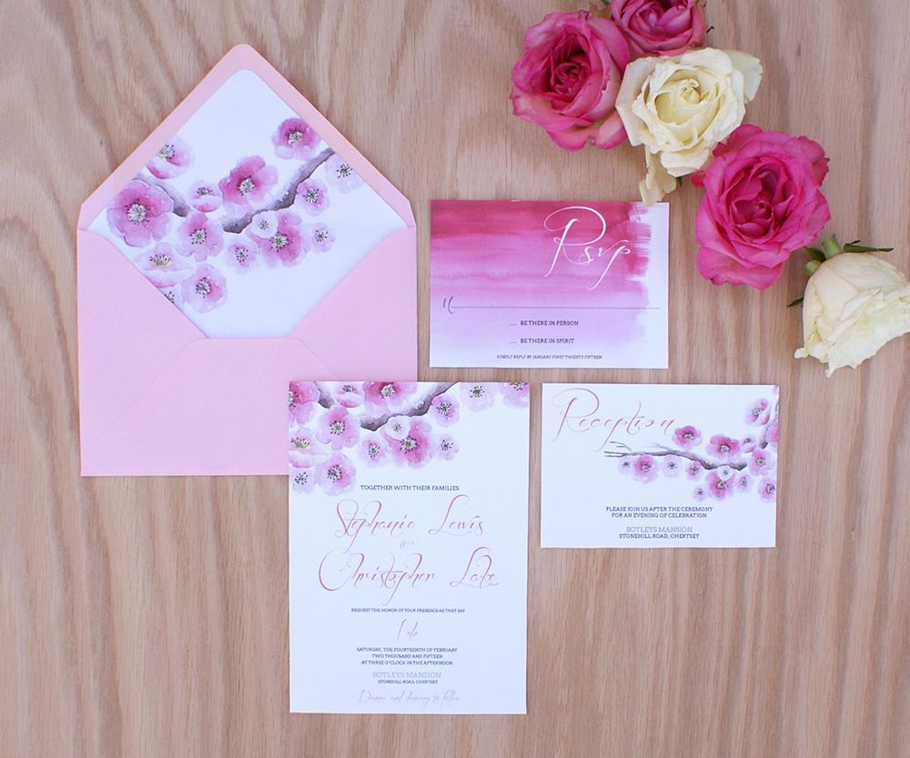 Cherry Blossom Wedding Invitation Fresh Cherry Blossom Wedding Invitation Painted with Watercolors