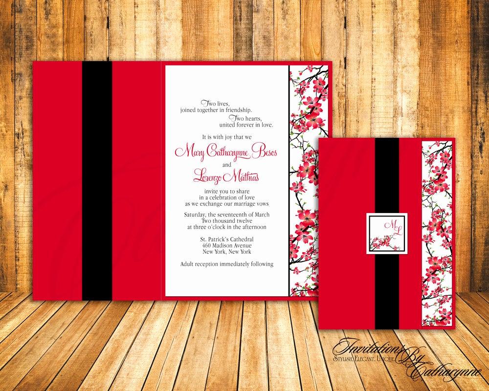 Cherry Blossom Wedding Invitation Fresh Cherry Blossom Wedding Invitations In Red and Black