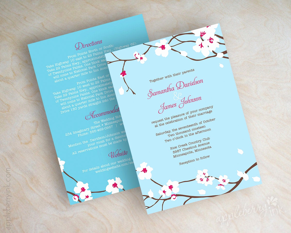 Cherry Blossom Wedding Invitation Lovely Item Details