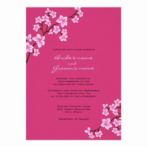 "Cherry Blossom Wedding Invitation Luxury Cherry Blossom Wedding Invitations 5"" X 7"" Invitation Card"