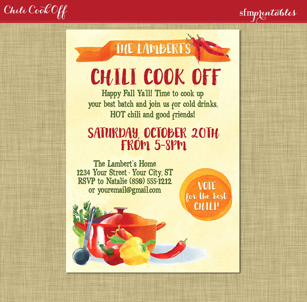 Chili Cook Off Invitation Best Of Chili Cookoff Invitation Printable Diy Chili Voting Ballot