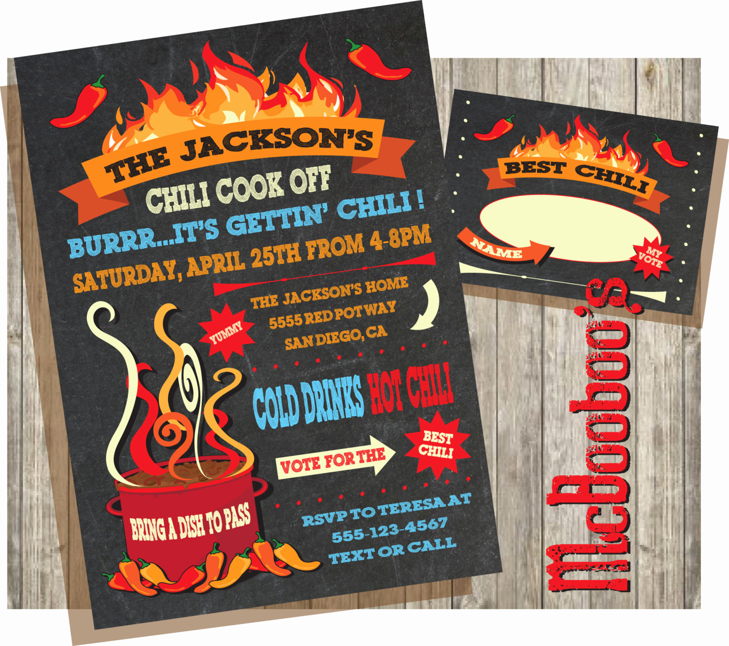 Chili Cook Off Invitation Elegant Chili Cook Off Invitations On A Chalkboard Background