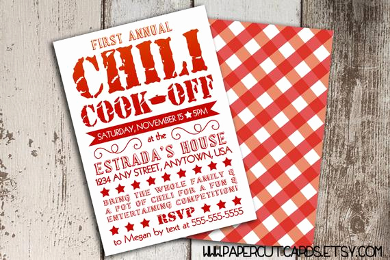Chili Cook Off Invitation Elegant Items Similar to Chili Cook F Party Invitation Printable