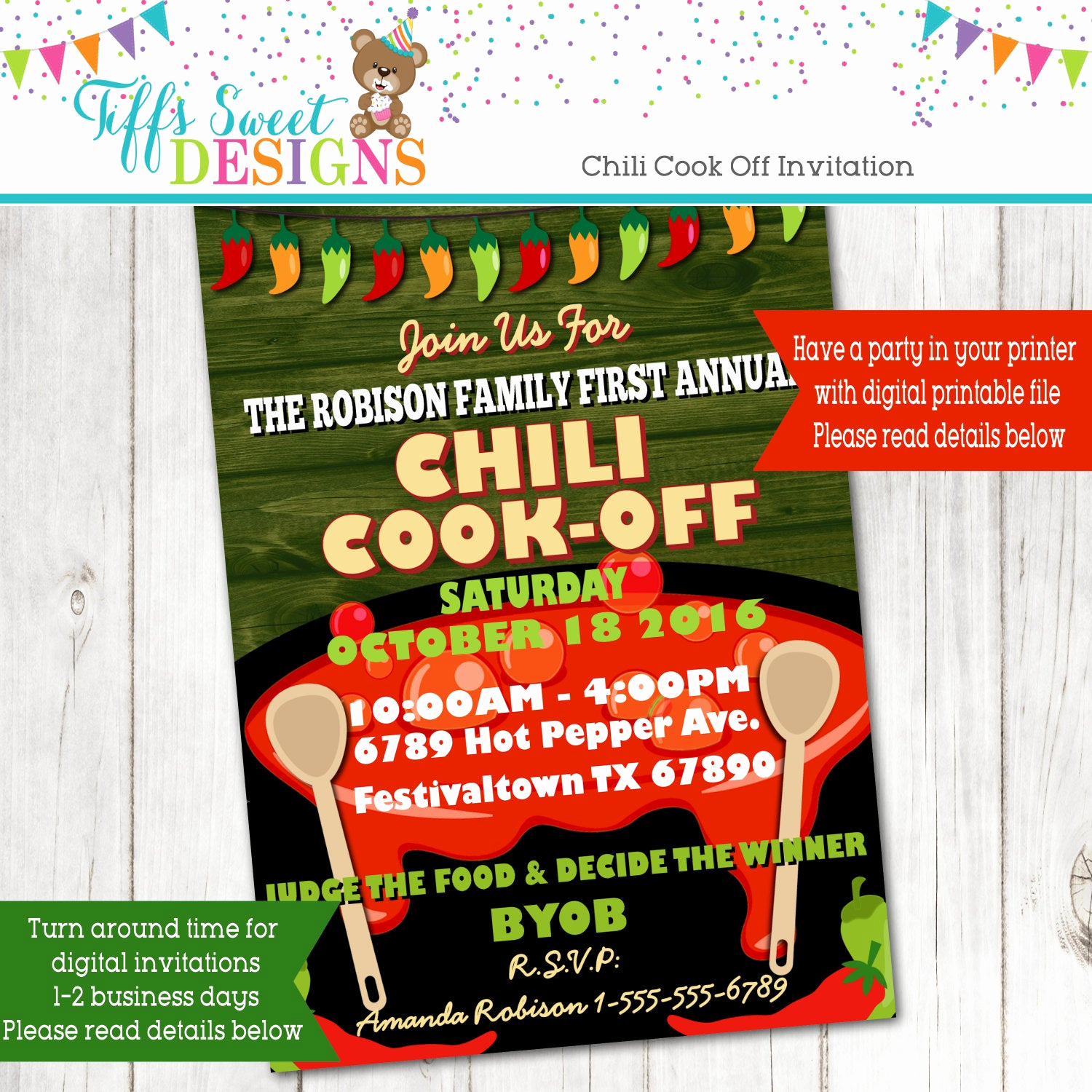 Chili Cook Off Invitation Fresh Chili Cook F Invitation Hot Pepper Invitation Annual