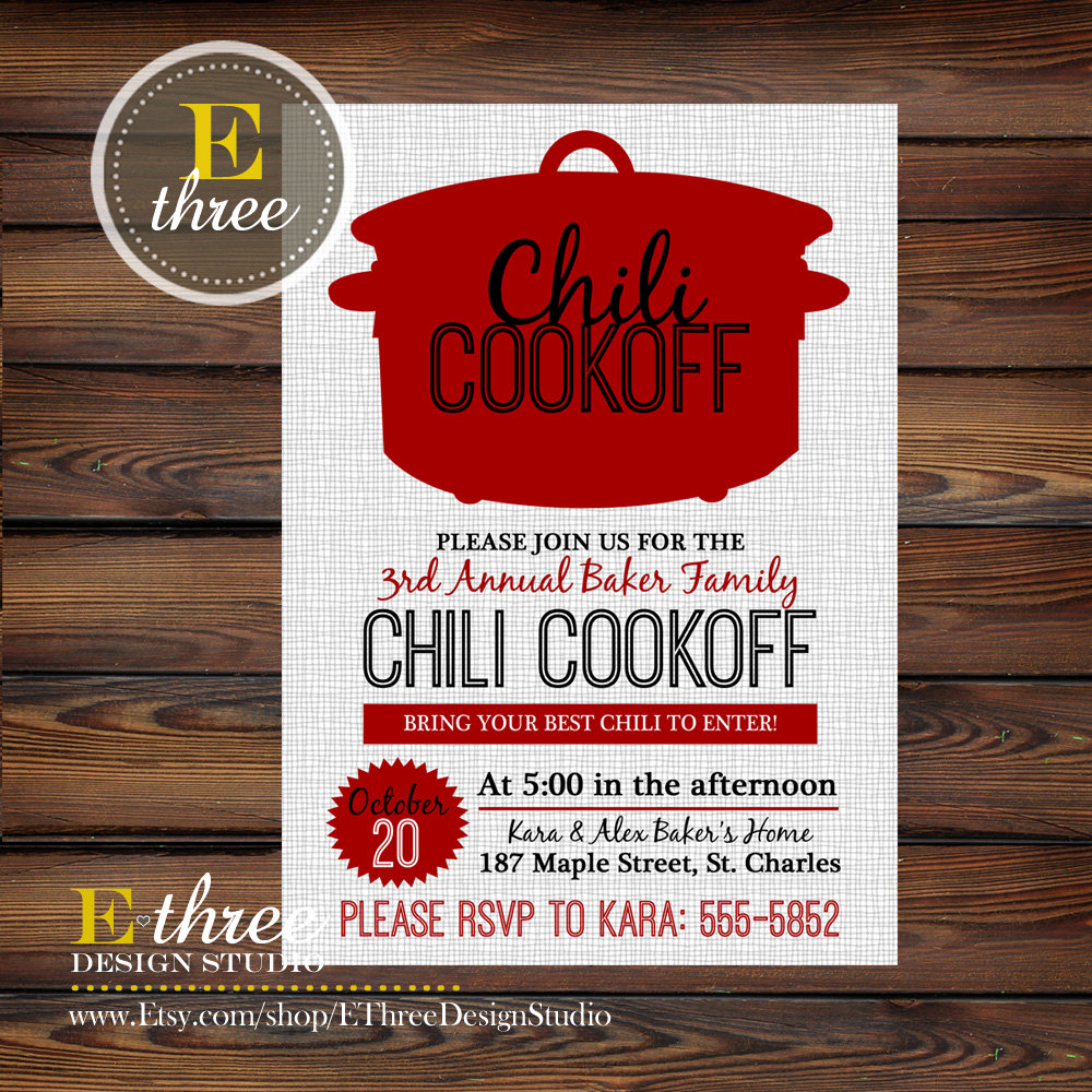 Chili Cook Off Invitation Fresh Chili Cookoff Invitations Fall Party Invitations Fall