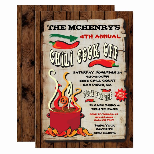 chili cook off party poster invitation