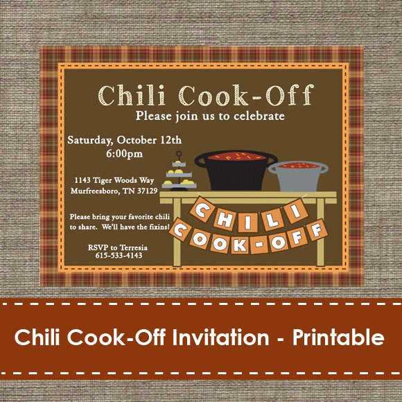 Chili Cook Off Invitation Lovely Chili Cook F Invitation Printable Diy
