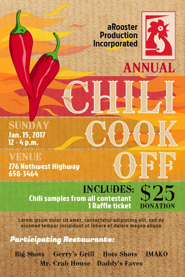 Chili Cook Off Invitation Template Awesome 10 Best Chili Cook F Poster Templates Images On