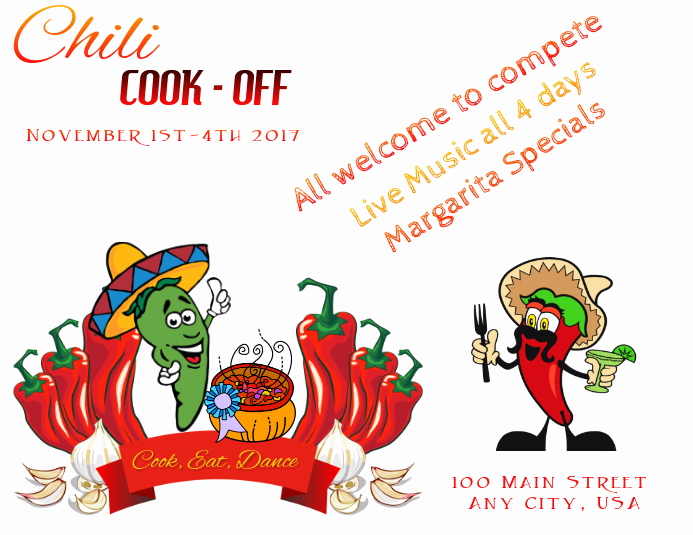 Chili Cook Off Invitation Template Elegant Chili Cook F Flyer Template
