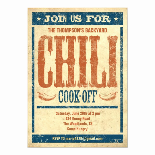 Chili Cook Off Invitation Template Elegant Chili Cook F Invitations