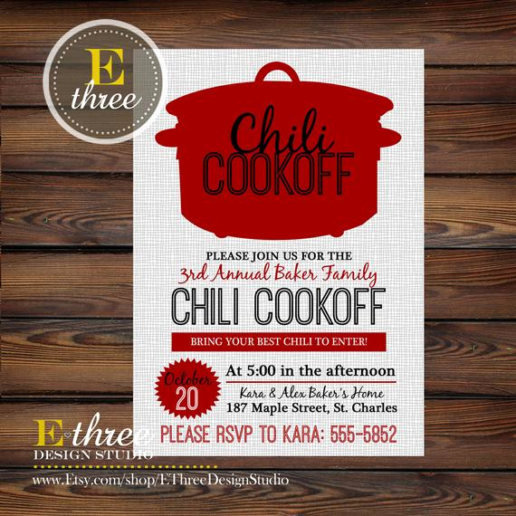 Chili Cook Off Invitation Template Fresh Chili Cookoff Invitations Fall Party Invitations Fall