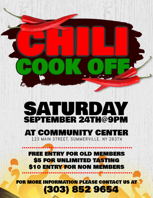 Chili Cook Off Invitation Template Luxury Chili Cook F Flyer Template