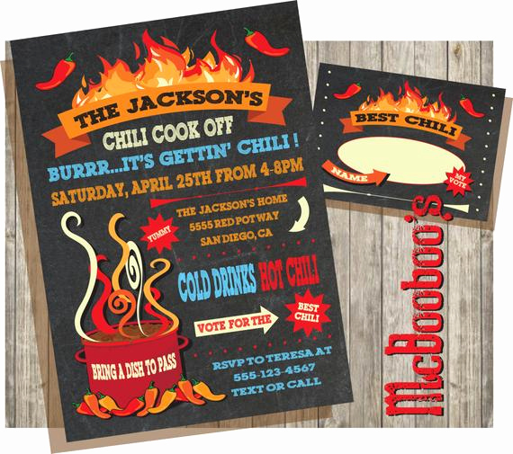 Chili Cook Off Invitation Template Luxury Chili Cook Off Invitations On A Chalkboard Background