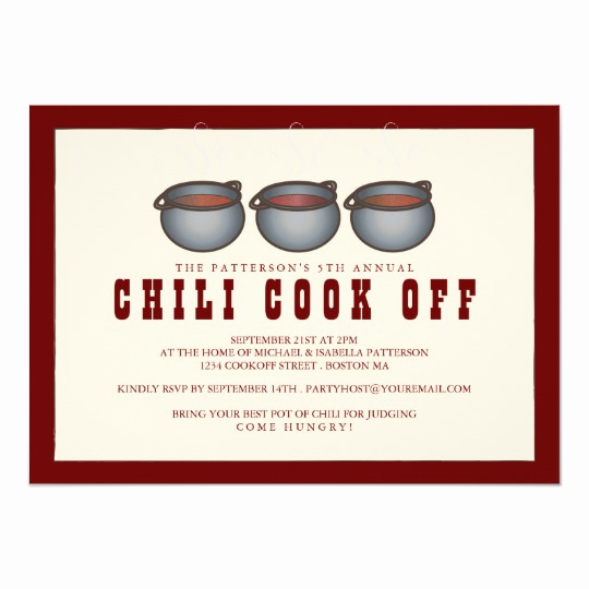 Chili Cook Off Invitation Template Luxury Chili Pot Trio Chili Cook F Party Invitation