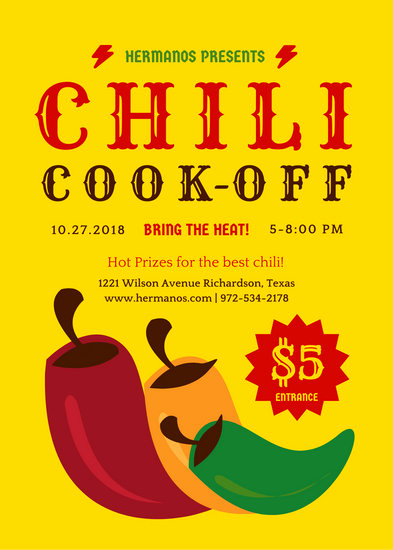 Chili Cook Off Invitation Template Luxury Customize 70 Restaurant Flyer Templates Online Canva