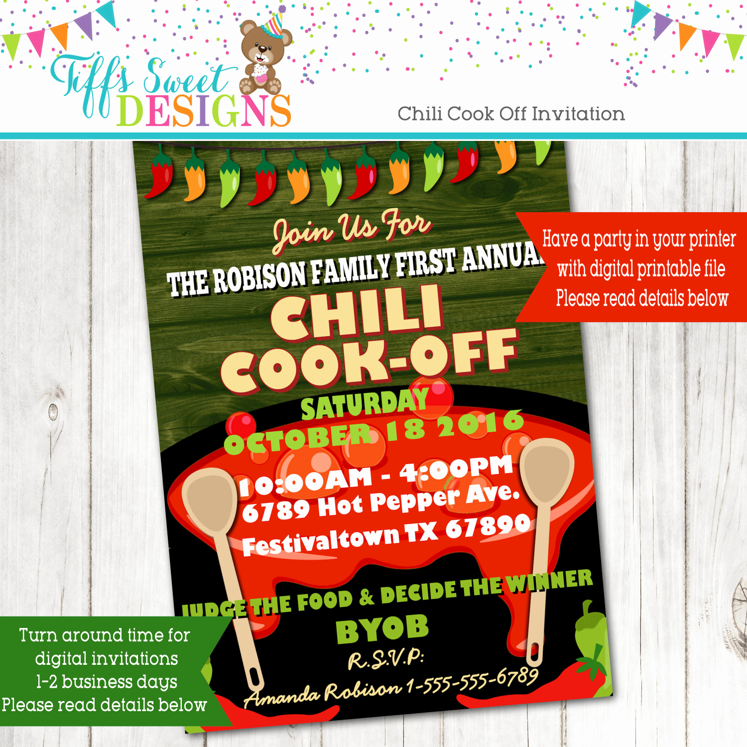 Chili Cook Off Invitation Template Unique Chili Cook F Invitation Hot Pepper Invitation Annual