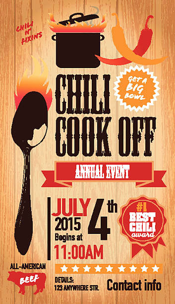 Chili Cook Off Invitation Unique Best Chili Pepper Illustrations Royalty Free Vector