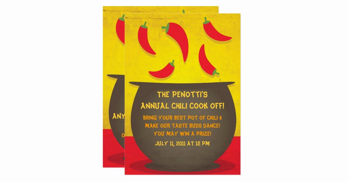 Chili Cook Off Invitation Wording Beautiful Chili Pot Cook F Invitation