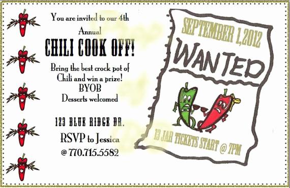 Chili Cook Off Invitation Wording Beautiful Printable Invitation for Chili Cookoff
