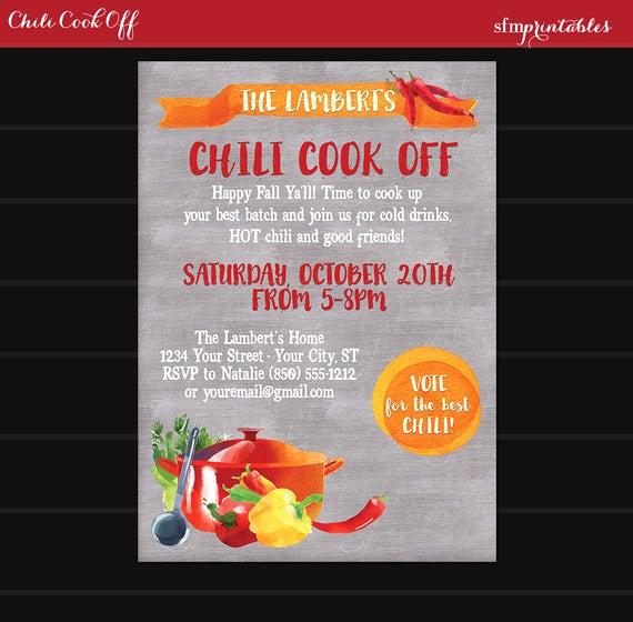Chili Cook Off Invitation Wording Inspirational Chili Cookoff Invitation Printable Diy Chili Voting Ballot