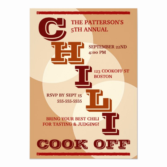 Chili Cook Off Invitation Wording Lovely Big Bold Chili Cook F Party Invitation