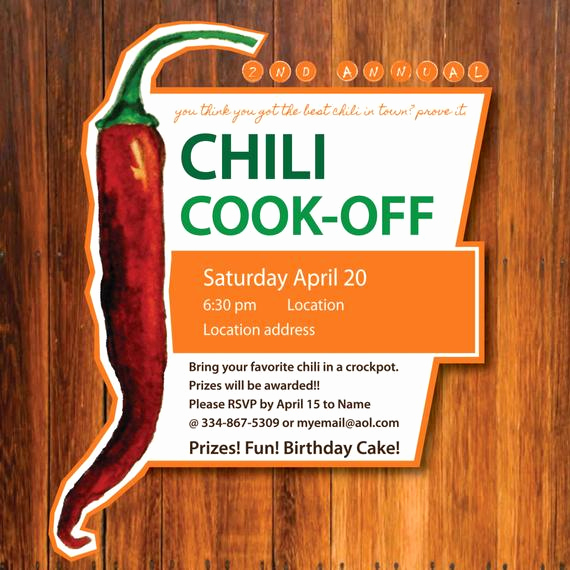 Chili Cook Off Invitation Wording Lovely Chili Cook Off Invitation by Jessibgraphicdesign On Etsy