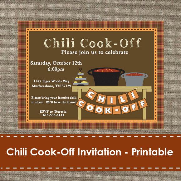 Chili Cook Off Invitation Wording New Chili Cook F Invitation Printable Diy