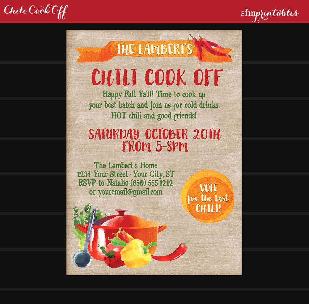 Chili Cook Off Invitation Wording Unique Chili Cook F Invitation Printable Diy Chili Voting Ballot