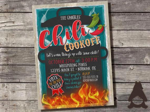 Chili Cook Off Invitation Wording Unique Chili Cookoff Invitation Chili Petition by Rockcreekpaperco