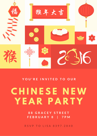 Chinese New Year Invitation Awesome Illustrated Chinese New Year Invitation Templates by Canva
