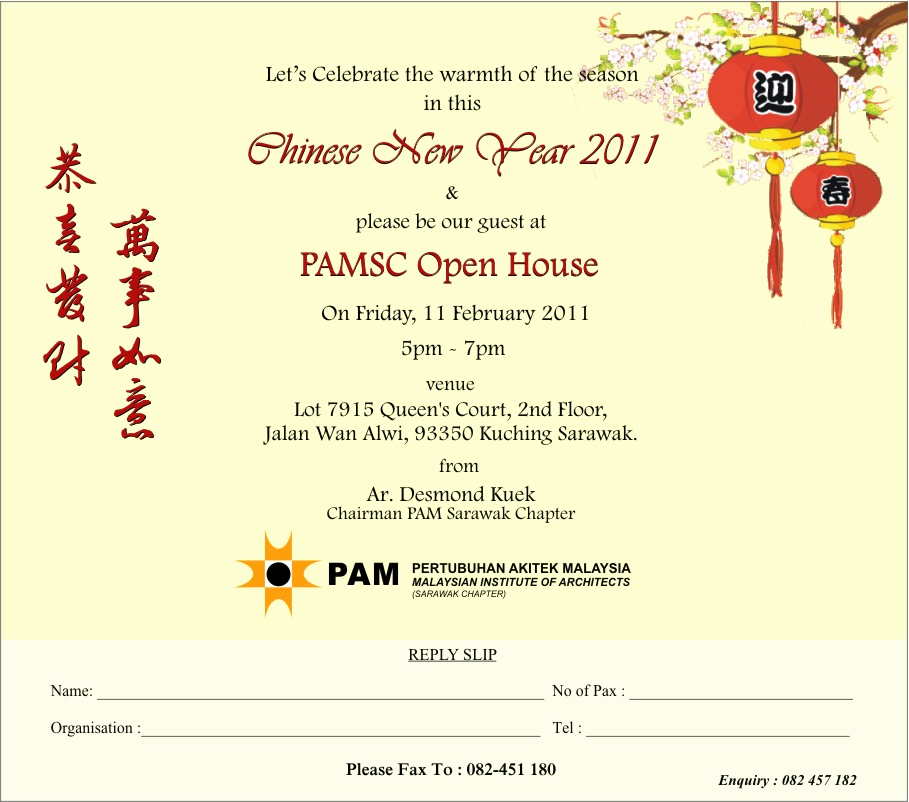 Chinese New Year Invitation Best Of Pamsc Open House Pertubuhan Akitek Malaysia Sarawak Chapter