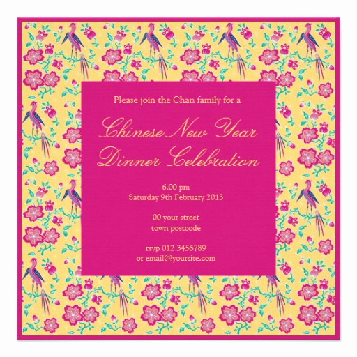 Chinese New Year Invitation Fresh Sakura Floral Batik Chinese New Year Invitation 5 25