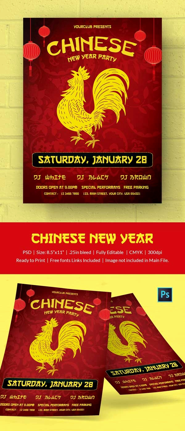 Chinese New Year Invitation New 10 Free Chinese New Year Templates Invitations Flyers