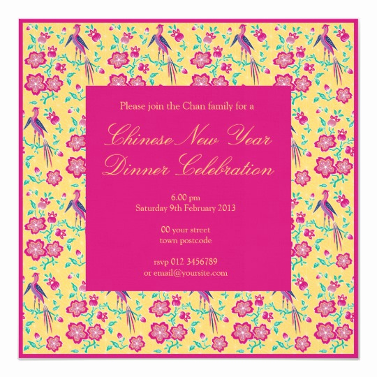 Chinese New Year Invitation Unique Sakura Floral Batik Chinese New Year Invitation