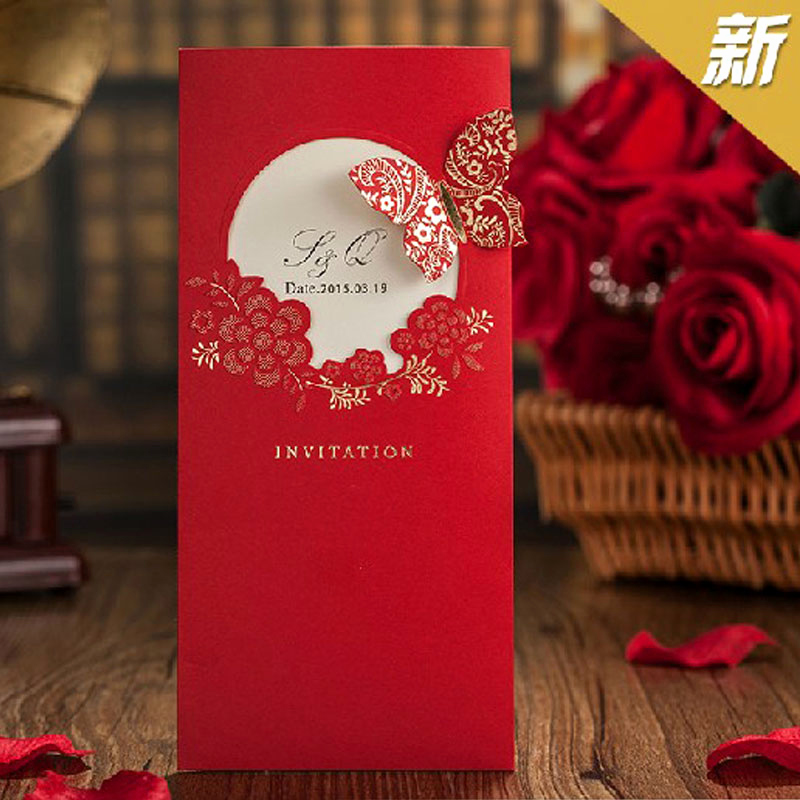 Chinese Wedding Invitation Card Awesome Festa 2016 New Elegent Red butterfly Chinese Style Wedding