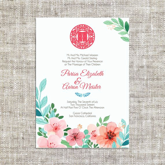 Chinese Wedding Invitation Template Best Of Diy Printable Editable Chinese Wedding Invitation Card