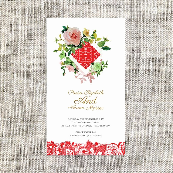 Chinese Wedding Invitation Template Inspirational Diy Printable Editable Chinese Wedding Invitation Card