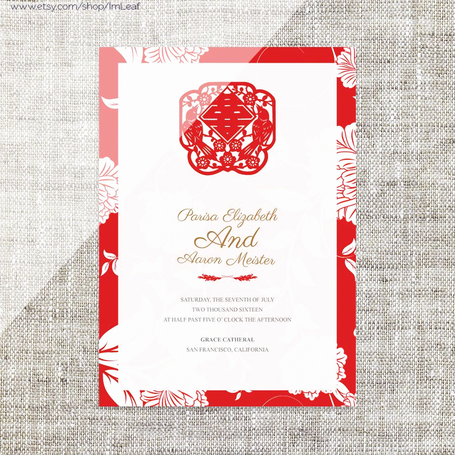 Chinese Wedding Invitation Template New Diy Printable Editable Chinese Wedding Invitation Card