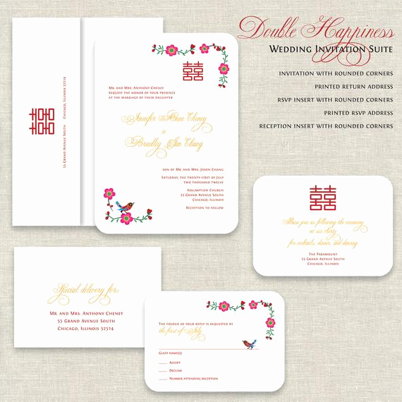 Chinese Wedding Invitation Templates Elegant Chinese Wedding Invitations Double Happiness Wedding
