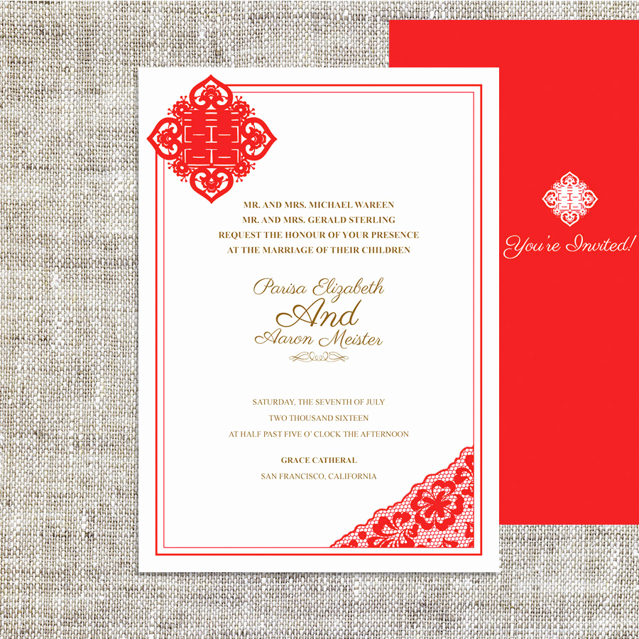Chinese Wedding Invitation Templates Unique Diy Printable Chinese Wedding Celebration Invitation by Imleaf