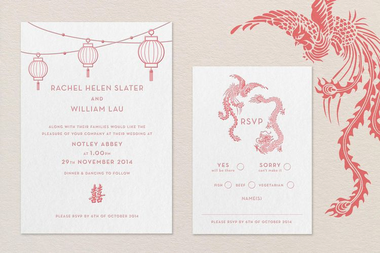 Chinese Wedding Invitation Wording Inspirational Modern Letterpress Chinese Wedding Invitation
