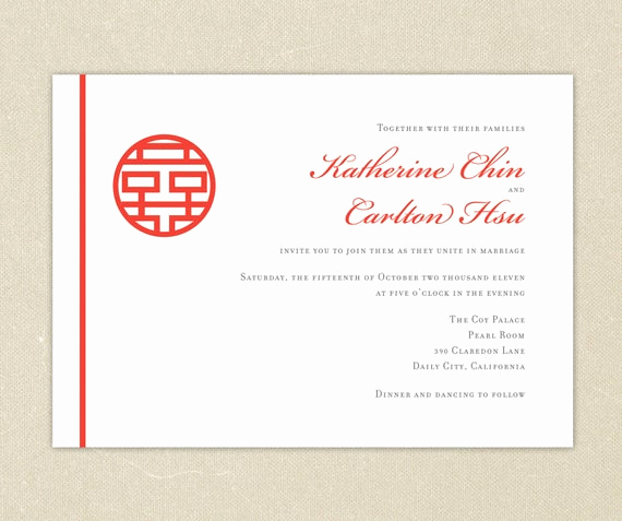 Chinese Wedding Invitation Wording Unique Wedding Invitations Red Double Happiness Chinese Wedding