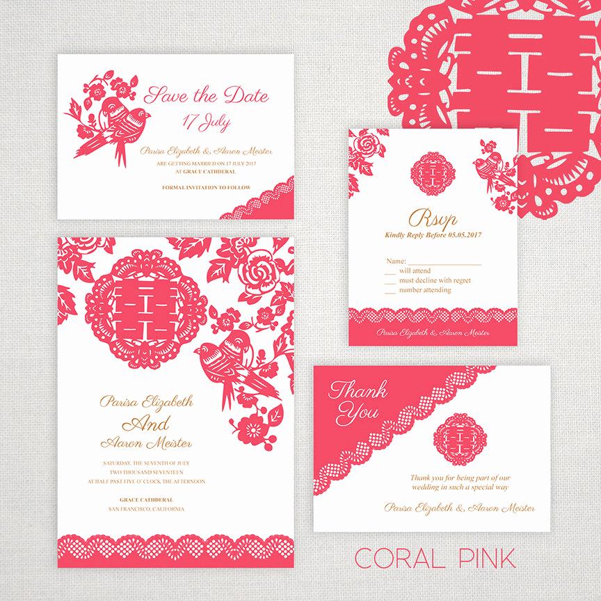 Chinese Wedding Invitation Wordings Luxury Diy Printable Editable Chinese Wedding Invitation Save the