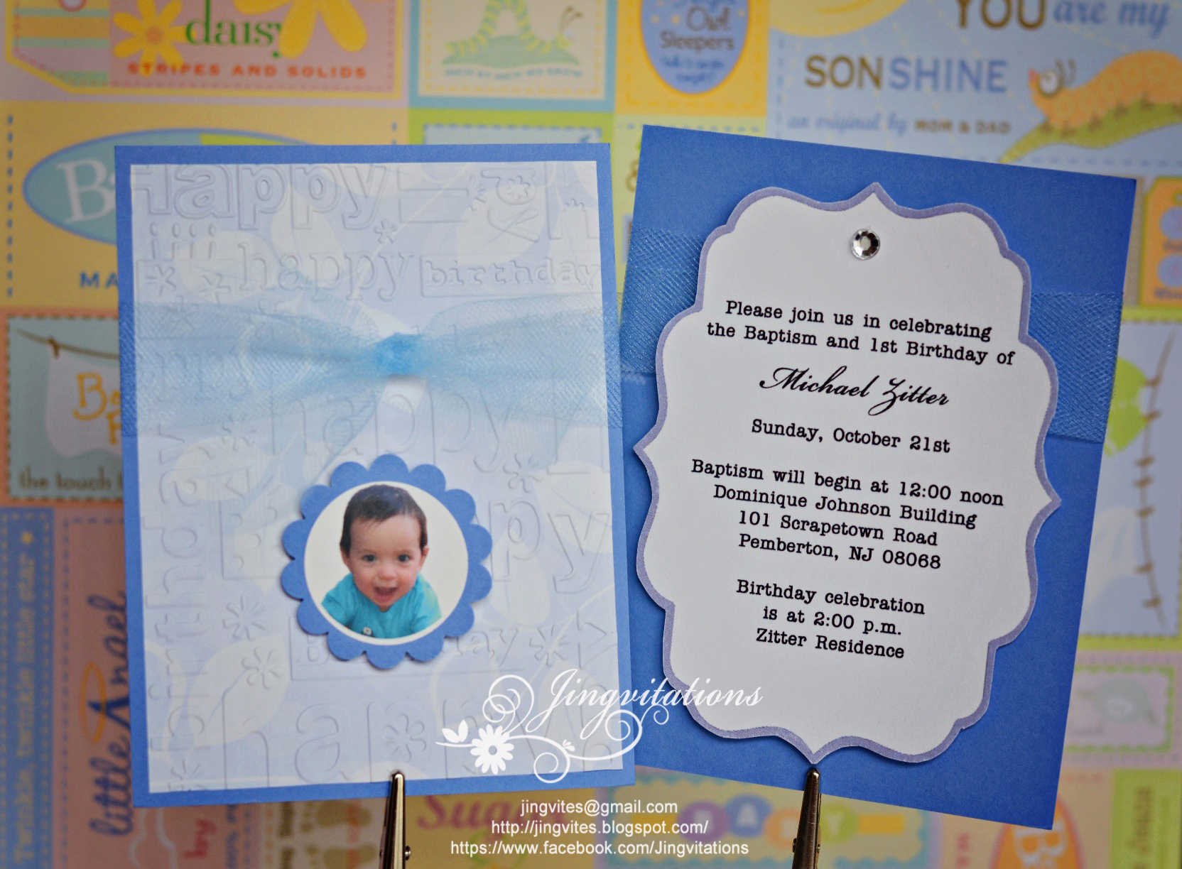 Christening and Birthday Invitation Awesome Baptism and First Birthday Invitations