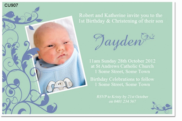 Christening and Birthday Invitation Awesome Cu907 Little Bird Boys Birthday and Christening