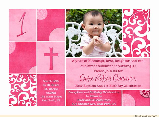 Christening and Birthday Invitation Awesome First Birthday and Baptism Invitations