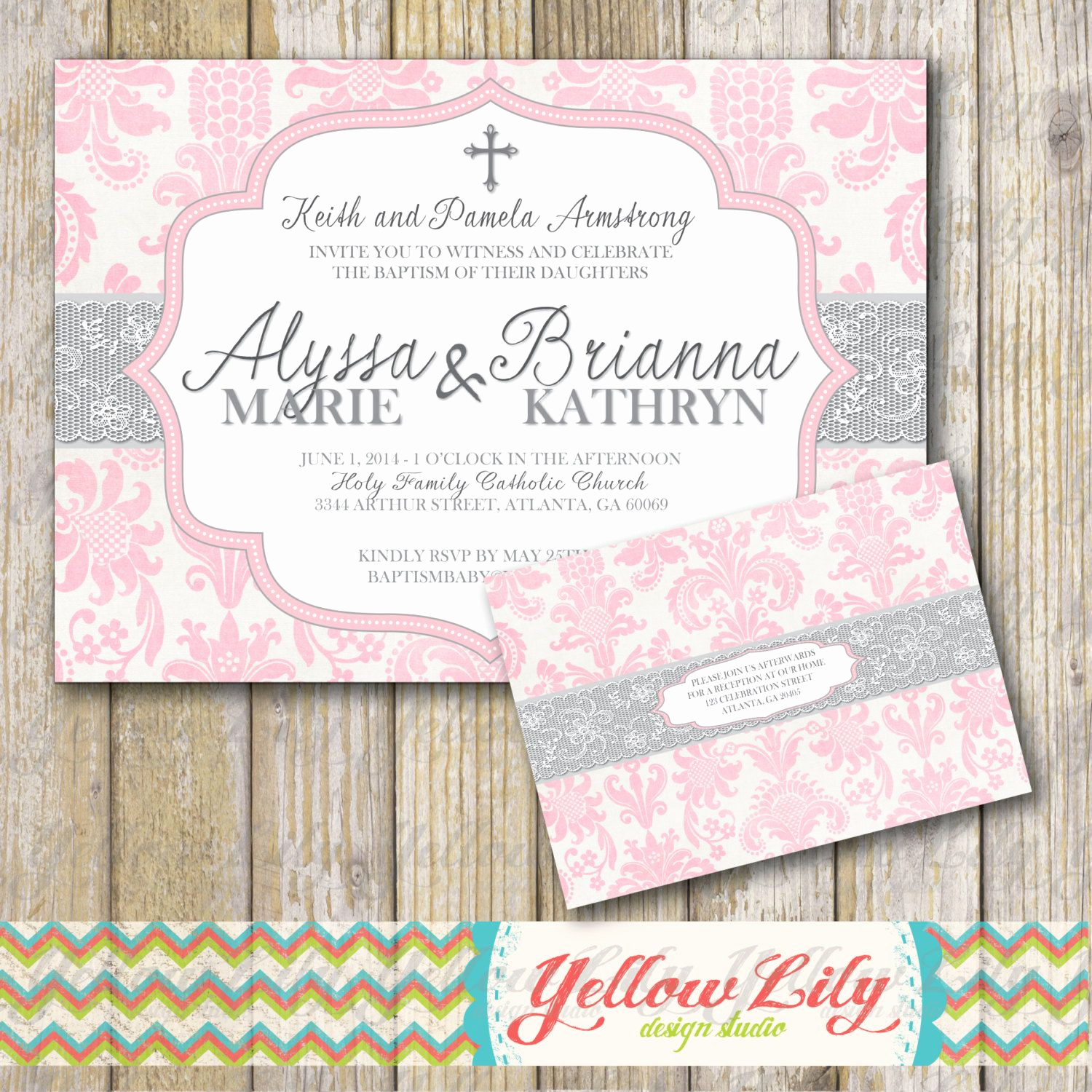 Christening and Birthday Invitation Beautiful Baby Girl Baptism Invitation Twins Girls Diy by