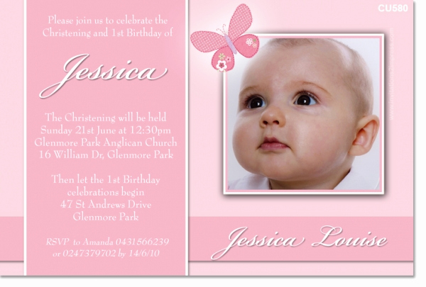 Christening and Birthday Invitation Elegant Cu580 Girl butterfly Christening Girls Christening