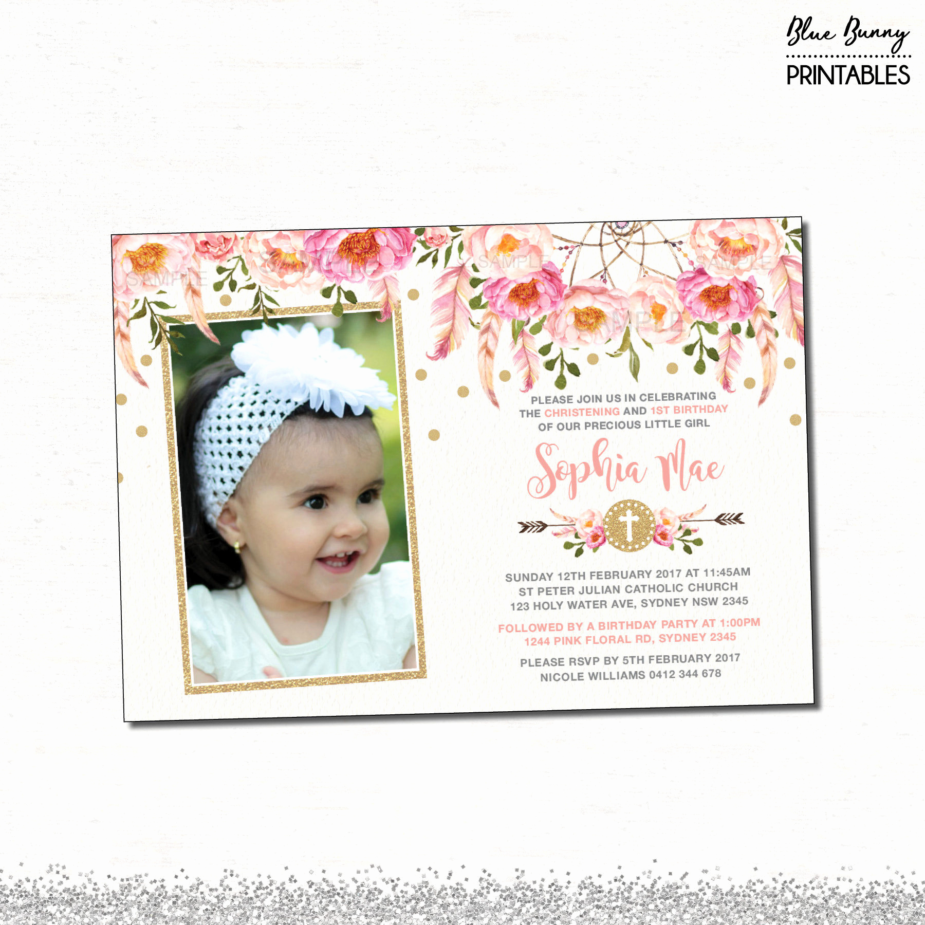 Christening and Birthday Invitation Elegant Floral First Birthday & Baptism Invitation Pink and Gold