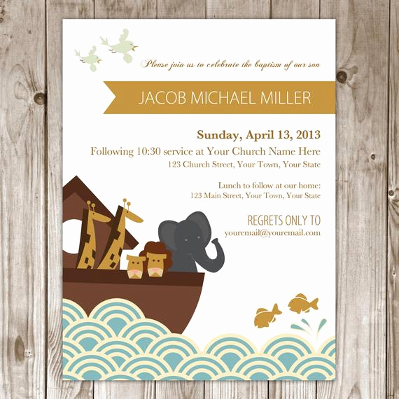 Christening and Birthday Invitation Elegant Items Similar to Noah S Ark Baptism Invitation On Etsy